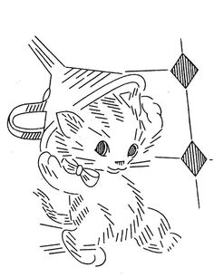Vintage Embroidery Transfer repo 976 Playful Kittens for Kitchen Dish Towels 60s
