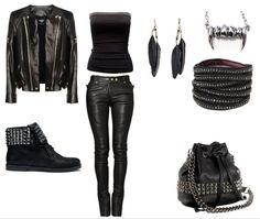jacket, black style, fashion outfits, stud, party outfits, shoe, leather, rock style, style fashion