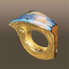 AQA Contemporary opal and gold ring