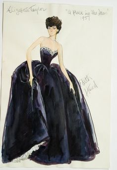 """Costume design by Edith Head for Elizabeth Taylor in """"A Place in the Sun"""" (1951)"""