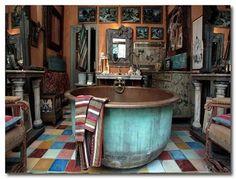 bathroom decorations, bathroom bohemian, bathtub, copper bath