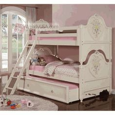 Doll House Cream Kids Twin Twin Trundle Bunk Bed