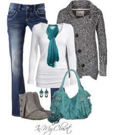 Cute winter outfit!! Black and white sweater!! Medium washed boot cut jeans!! Blue purse and blue scarf!! Short grey UGGs - never would have thought of pairing uggs with boot-cuts