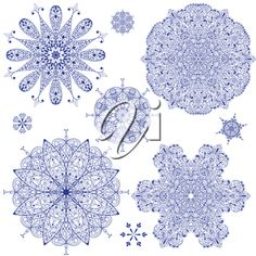 iCLIPART - Clip Art Illustration of Highly Detailed Snowflakes