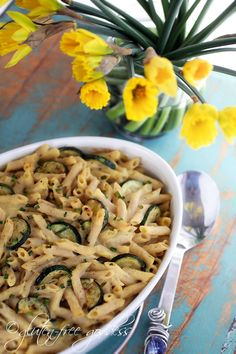 Vegan and non dairy creamy pasta bake with gluten free brown rice penne