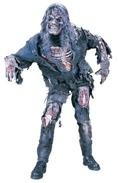 Makeup effects.  Mens Adult Scary Deluxe Complete Bone Flesh 3D Zombie Costume Outfit w Mask | eBay