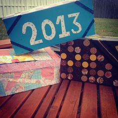2013 memory boxes made from shoe boxes and scrapbook paper! So much fun!!