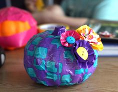 Duct tape pumpkin with duct tape flowers - using a dollar store foam pumpkin