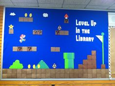 mario themed library bulletin board librari bulletin, bulletin board, theme librari