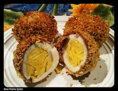 Baked Scotch Eggs.  Boiled egg baked inside sausage.  Low carb version - replace the bread crumbs with finely crushed pork rinds and omit the salt.