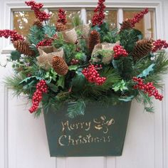 Christmas Wreath, Merry Christmas Pine Berries and Burlap Door Pocket for Christmas Decor, Christmas Wreath Alternative. $69.95, via Etsy.