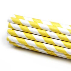 Yellow Striped Paper Straws
