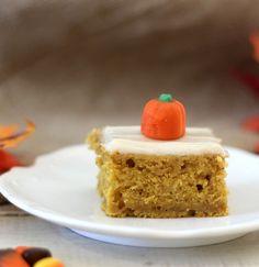 Pumpkin Snack Cake with Cream Cheese Frosting #SundaySupper  - A lightened up, fluffy moist pumpkin flavor cake with a cinnamon spiced cream cheese frosting.