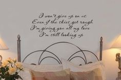 I wont give up on us Quote Vinyl Wall Lettering Decal 32Wx18H. $35.00, via Etsy.