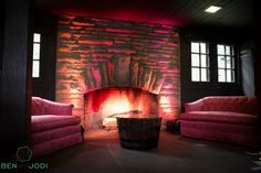 Fireplace lounge at Happy Days Lodge.  Photo by Ben and Jodi Photography. Furniture from Borrow Vintage Rentals.  Lighting Design by Something New Entertainment