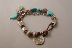 Artisan Bracelet, Sleeping Beauty Turquoise, African Trade Beads, Thai Silver, Leather ,Silver Chain, Handmade Jewelry. $115.00, via Etsy.