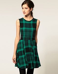 ASOS Skater Dress in Green and Black Check - StyleSays