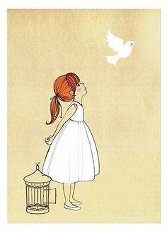 sweet illustration girl white cute