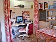 Closet into office red toile