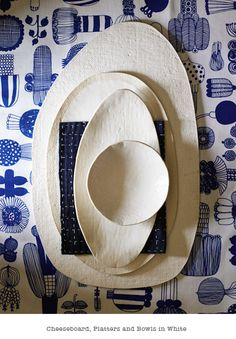 Elephant Ceramics: Cheeseboard, Platters and Bowl in White