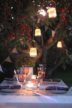 An evening dinner outside