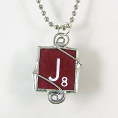 Maroon Scrabble Letter J Pendant Necklace by XOHandworks $20