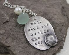 Walk With Me Beside The Sea- Beach Glass Pendant. $50.00, via Etsy.
