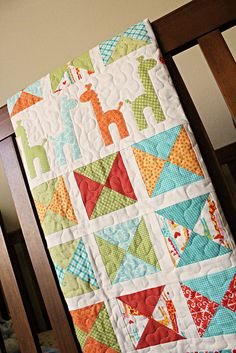 Giraffes Quilt 2 by frivolous necessity [pattern available here: http://www.etsy.com/listing/124963740/quilt-pattern-pdf-lovey-giraffes-baby?ref=shop_home_active]