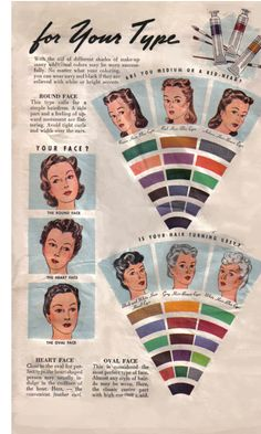 fashion, 1940s beauti, face charts, color, vintag hair, vavoom vintag, makeup, retro, vintag beauti