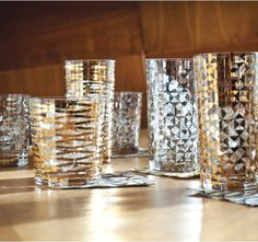 Gold Triangles short drinking glasses from Dwell Studio