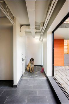 Great dog wash shower! Perfect location by the yard and the tile makes clean up so easy. Not sure about the white walls though. by Kariouk Associates