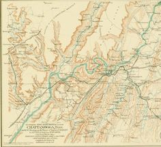 "Aug. 30, 1863: James wrote about rejoining his regiment in time for the beginning of the Chickamauga Campaign. He was in the lead boat crossing the Tennessee River, with the enemy on the other side. Detail from ""Map Showing the Army Movements around Chattanooga, Tenn."" Plate 97 from Atlas to Accompany the Official Records of the Union and Confederate Armies. Washington: Government Printing Office, 1891-1895. http://www.historyhappenshere.org/archives/7420"