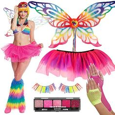 Rainbow bikinis, tutus and butterfly wings? Yes, please! We <3 funky fabulous Rave Wear! Click for more of this year's top 10 Halloween costume trends! #BeACharacter