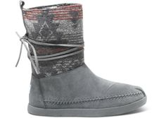 NEED! These are perfect for the snow. size 7.5 Grey Suede Jacquard Women's Nepal Boots side