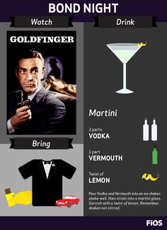 Bond, James Bond. Make it a dashing night with a tuxedo shirt, a shaken martini, Sean Connery, and Goldfinger. Some gold-wrapped chocolate should top off your #movienight.