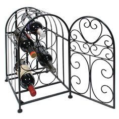 Vintage Aviary Wine Rack for $48.00 from WineRacks.com  Store and display your favorite bottles in our aviary-inspired wine rack. The swinging door opens and latches closed to store 7 bottles of wine. Constructed with black wrought-iron with a hinged door with latch.  Holds 7 standard-sized bottles