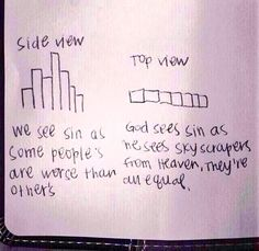 Perspective. I LOVE this analogy. God doesn't see our sin as worse than others, or others worse than ours. We all come short of the glory of God!