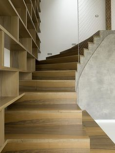 Stair at the Rounded Loft by A1 Architects