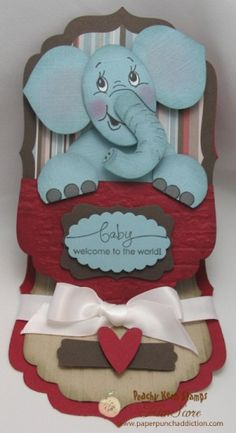 "Baby Elephant Punch Art Easel by needmorestamps - Cards and Paper Crafts at Splitcoaststampers Instructions: *this project uses all Stampin' Up! paper punches  Punch the following pieces for the elephant: (3) Ornaments in Baja Breeze - EARS & FEET (1) Extra Large Oval in Baja Breeze - HEAD (1) 2-1/2"" Circle in Baja Breeze - BODY (1) Blossom Petals (large petal) in Baja Breeze - TRUNK"