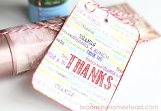 Free Printable Thank You Tags - Blooming Homestead