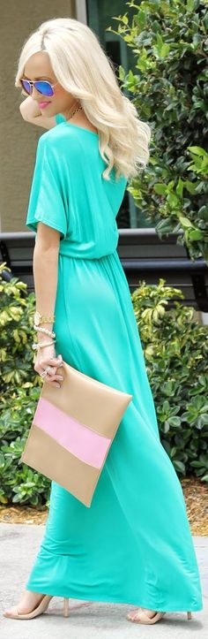 Catch Bliss Green Drawstring Waist Maxi Dress! This is simply divine and screams #summer. #dress #aqua #purse #fashionista