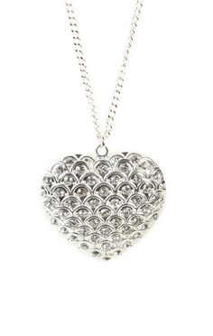 #silver stone #heart #necklace