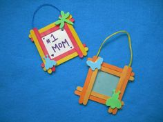 Popsicle stick picture frame-We made these in my mom's group. We used scrap paper to decorate the frame, along with some embellishments, and attached a magnet to the back. Very cute and easy!
