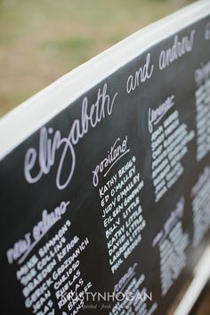 Hand lettered seating chart by Cedarwood Weddings. Photo by Kristyn Hogan