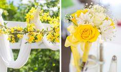 yellow and white ceremony decor