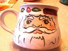 Vintage Signed Redware Pottery Santa Claus Face Mug | eBay