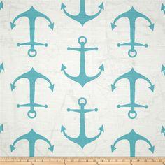 Premier Prints Anchor Slub fabric in aqua, yellow or hot pink, $8.50/yd