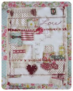 love fabric collage