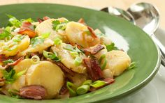 German Potato Salad has no mayo! Features a mustard and apple cider vinegar dressing instead. Serve warm or chilled. A Whole Foods recipe. I LOVE this!