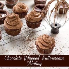 Chocolate Whipped Buttercream Frosting | Ultralight chocolate buttercream frosting - it's like chocolate mousse in frosting form! | #frosting #buttercream #chocolate